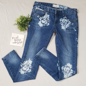 Free People Floral Printed Legging Jeans Size 25
